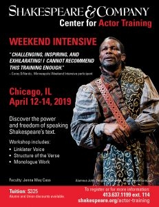 Chicago Shakespeare Intensive - April 12 to 14, 2019