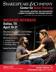 Dallas Shakespeare Weekend Intensive - April 19 to 21, 2019