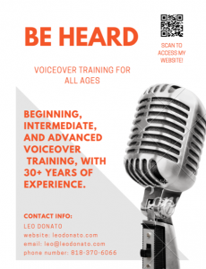 VOICE OVER TRAINING -Learn from a working pro beginning the advance work with a 25 yr working pro.