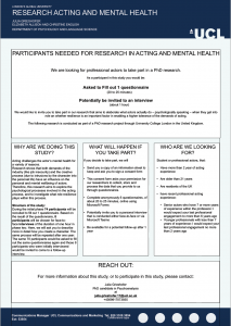 Professional Actors for UCL research on Mental Health and Resilience