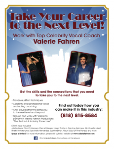 Valerie Fahren Vocal Coach, Showcasing and Audition Prep Los Angeles 818-815-8584